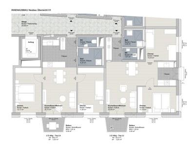 Beispielgrundrisse Drei-Zimmer-Wohnungen (Neubau)